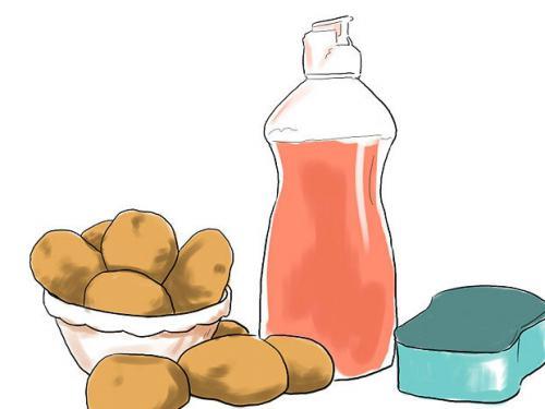Удаление ржавчины хозяйственным мылом и картофелем