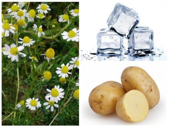 картофель, лед, ромашка